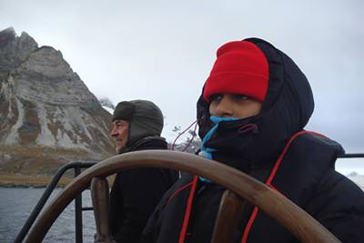 young people sailing in the Arctic