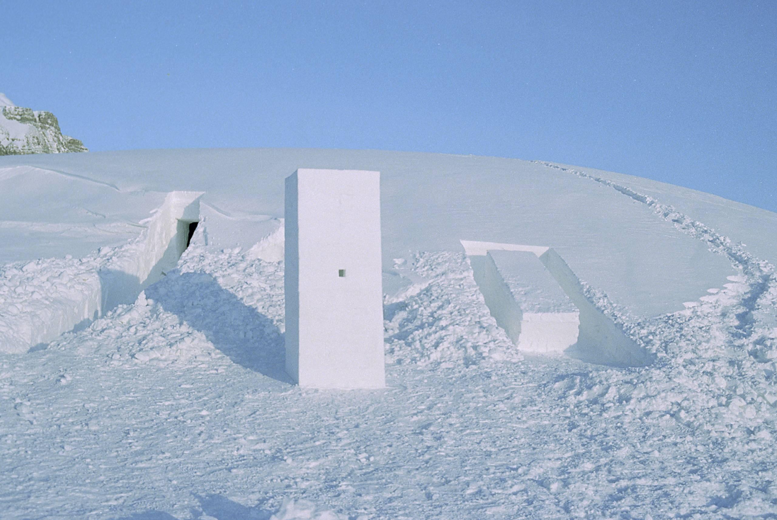 sculptures in arctic landscape