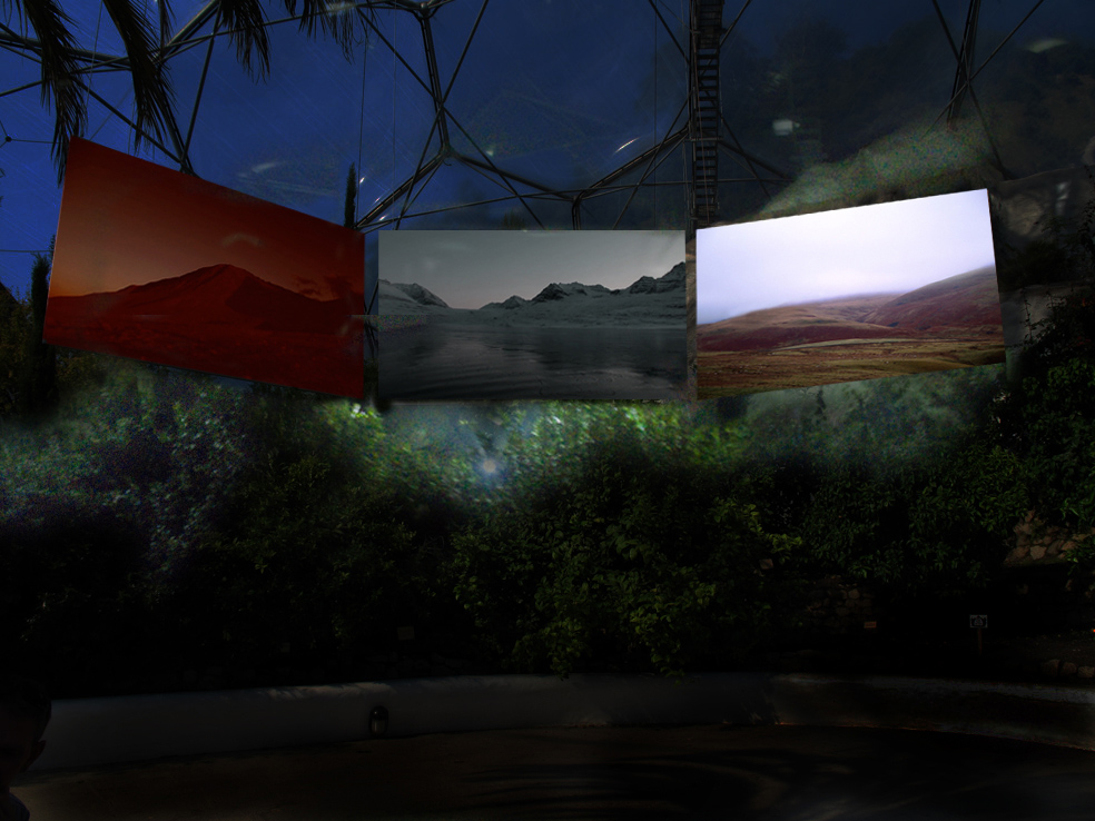 3 screen video projection in the Eden Project biome