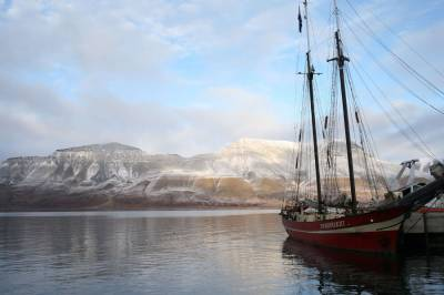 moored boat in Arctic landscape