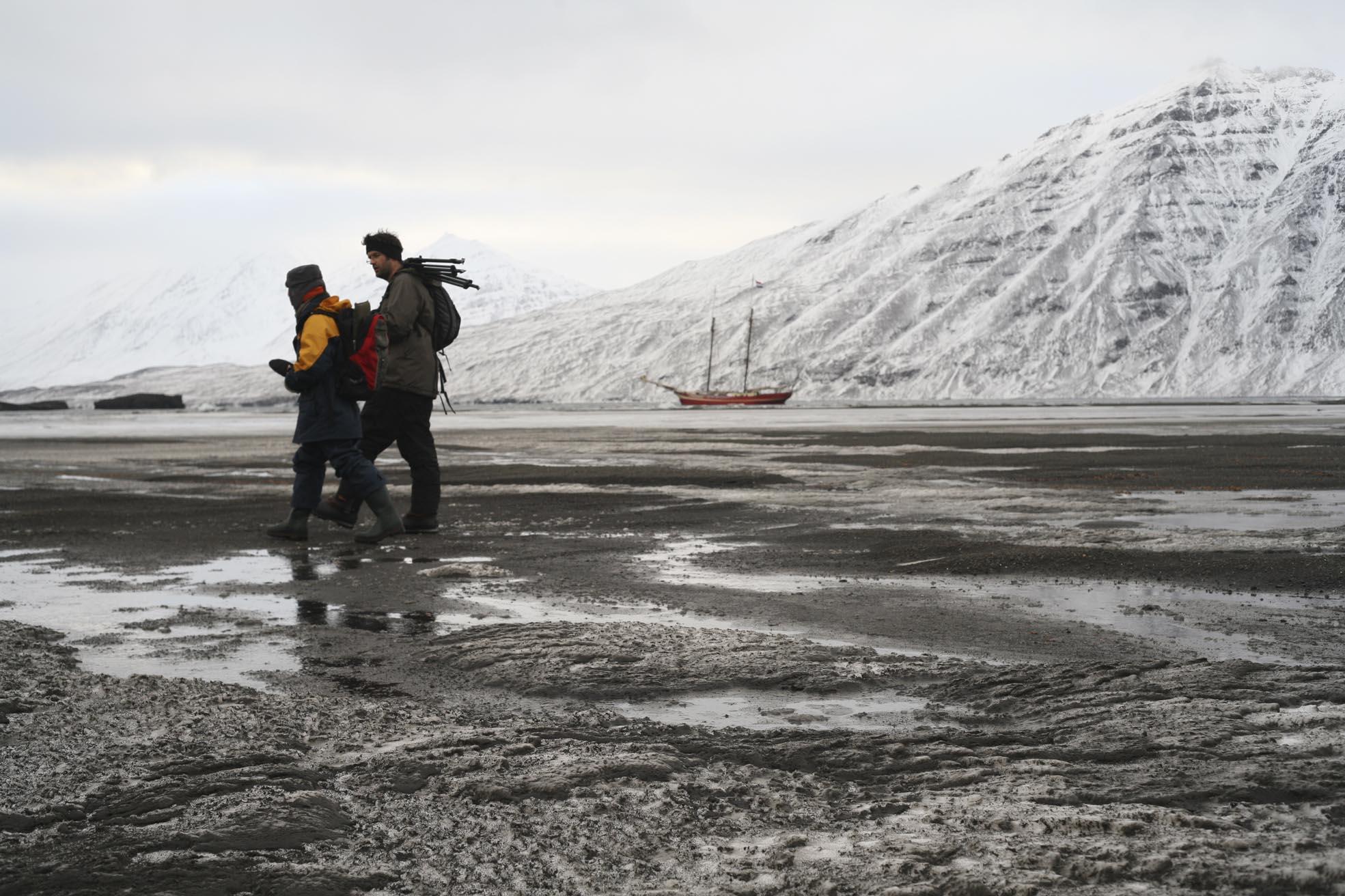 figures in Arctic landscape