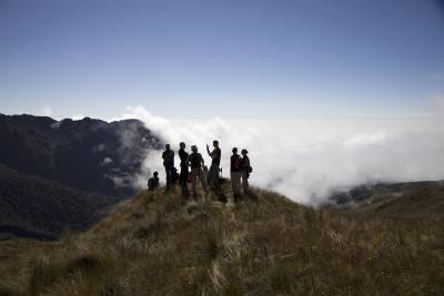 group of people on mountain top