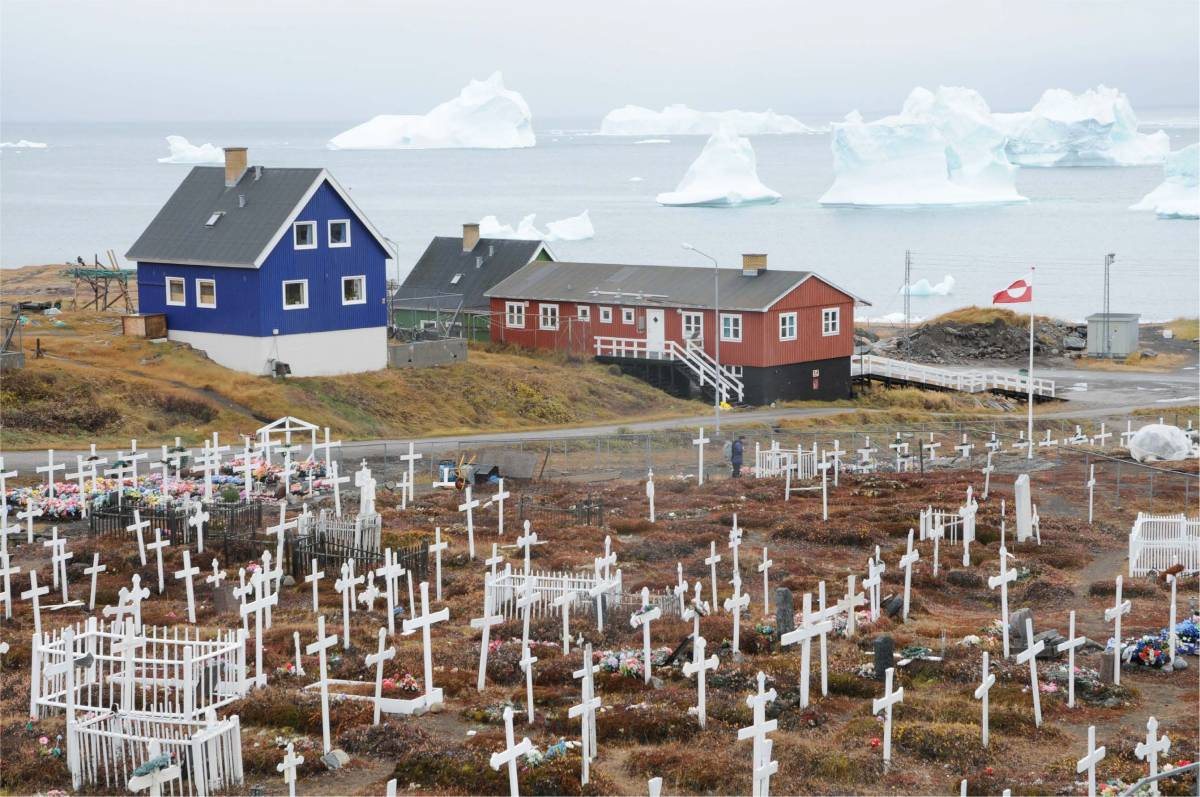 icebergs and houses in Greenland