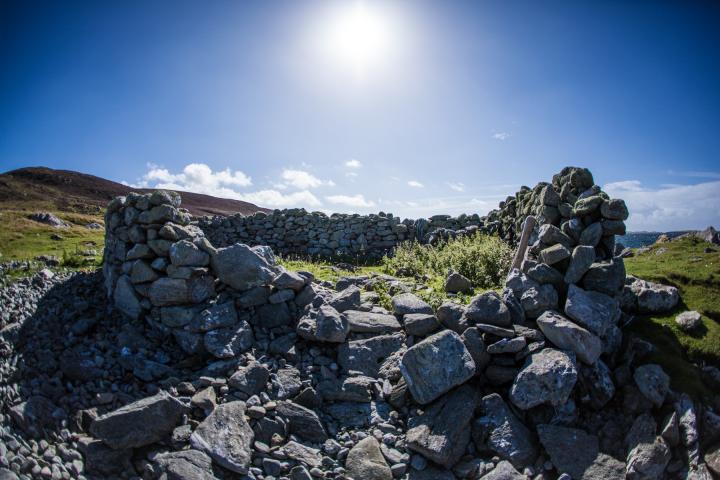 sunlight on rocky outcrop