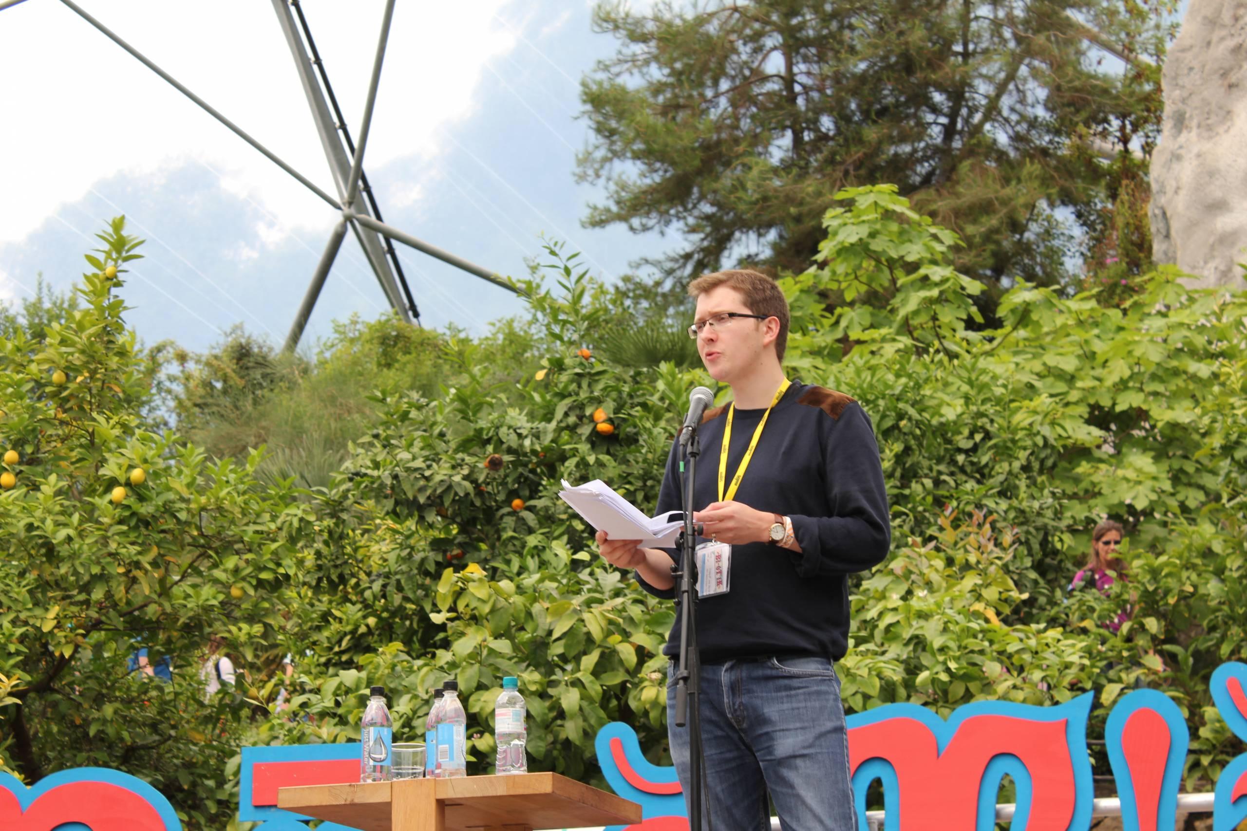 man performing poetry
