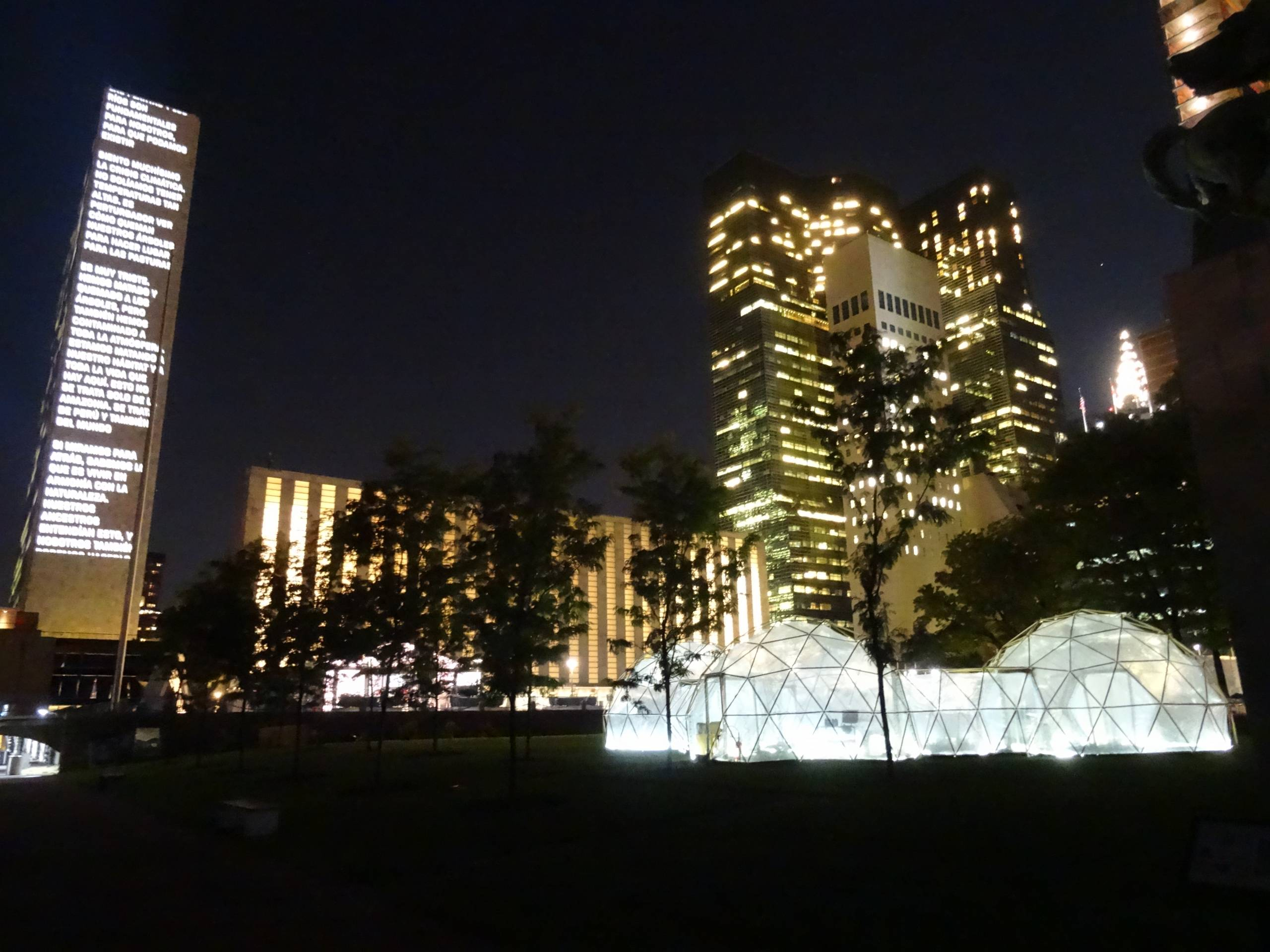 biome artwork against cityscape background