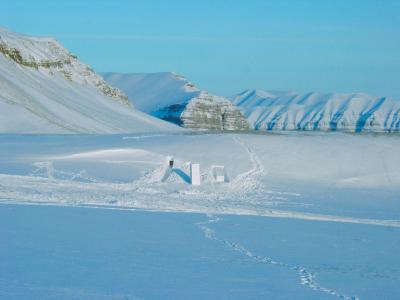 sculptures carved in ice set in a vast Arctic landscape