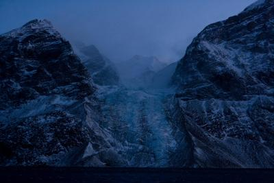 glacier front at night