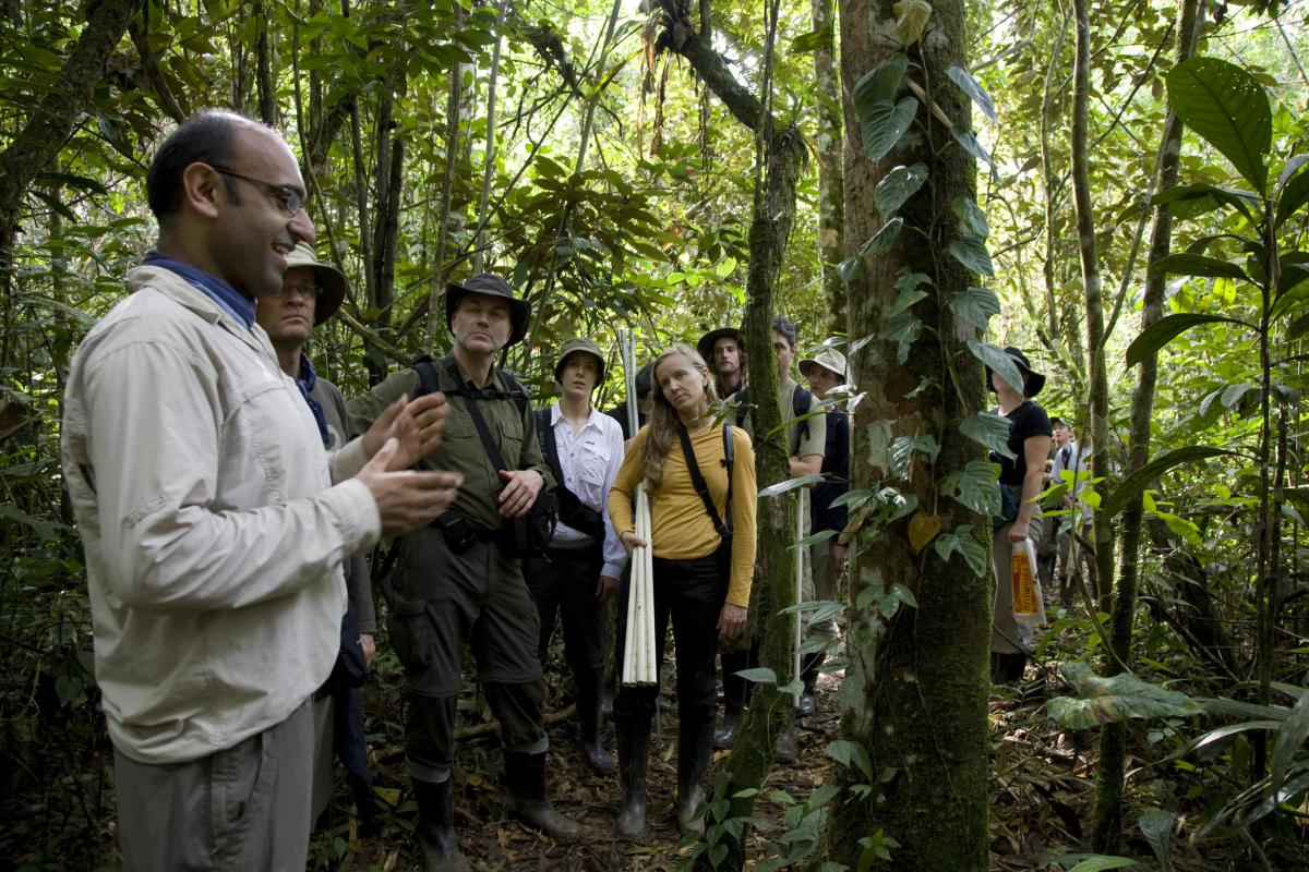 group surrounded by lush vegetation in the Amazon