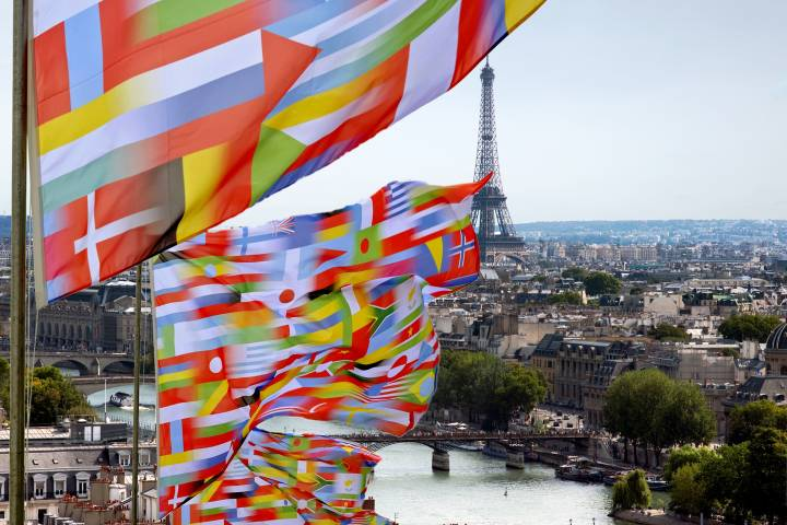 international flags in front of a Paris cityscape