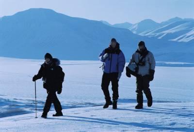 figures walk in an Arctic landscape