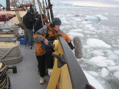 recording sound on a boat in the Arctic