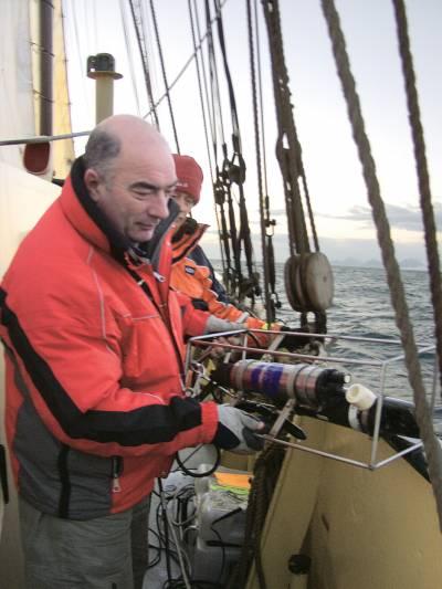 scientist launching sea temperature probe