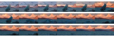 still frames of an iceberg tipping into the sea