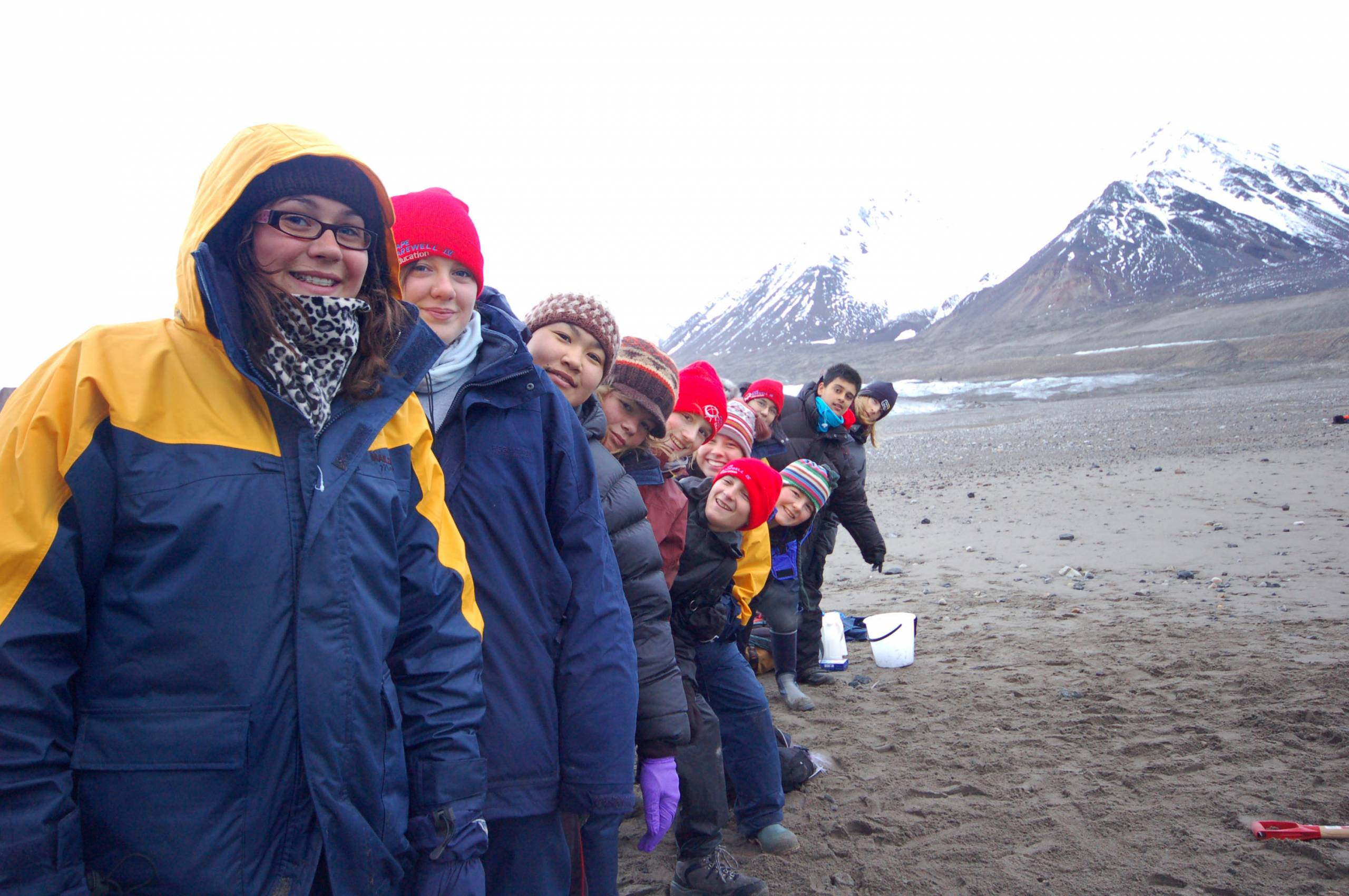 group of young people in Arctic landscape