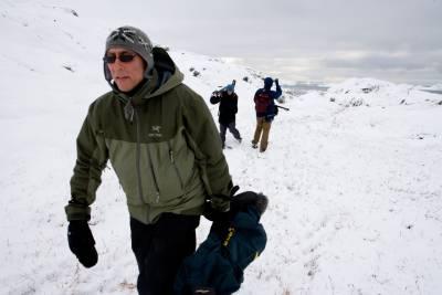 film crew in an Arctic landscape