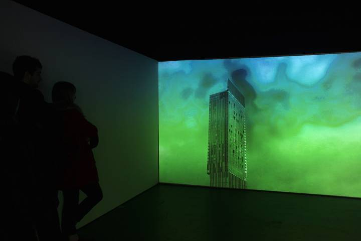 gallery installation of projection