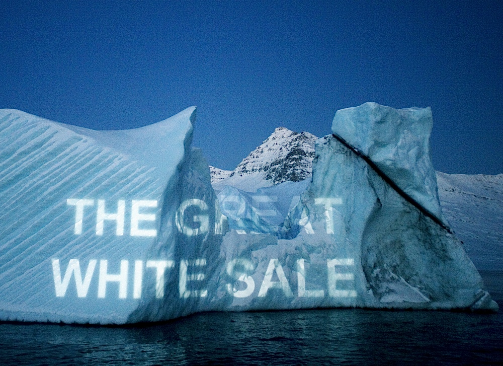 The Great White Sale text on iceberg