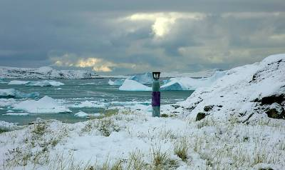 gas cylinder in an arctic landscape