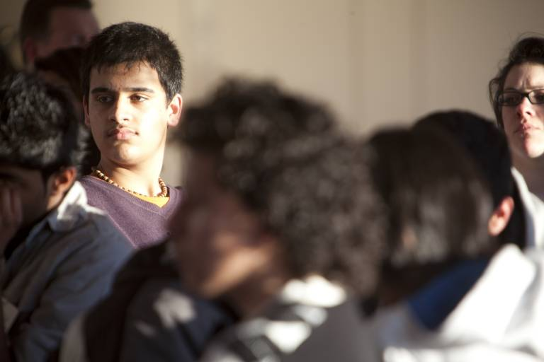 young people listening during a climate workshop