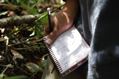 close up of hand and notebook