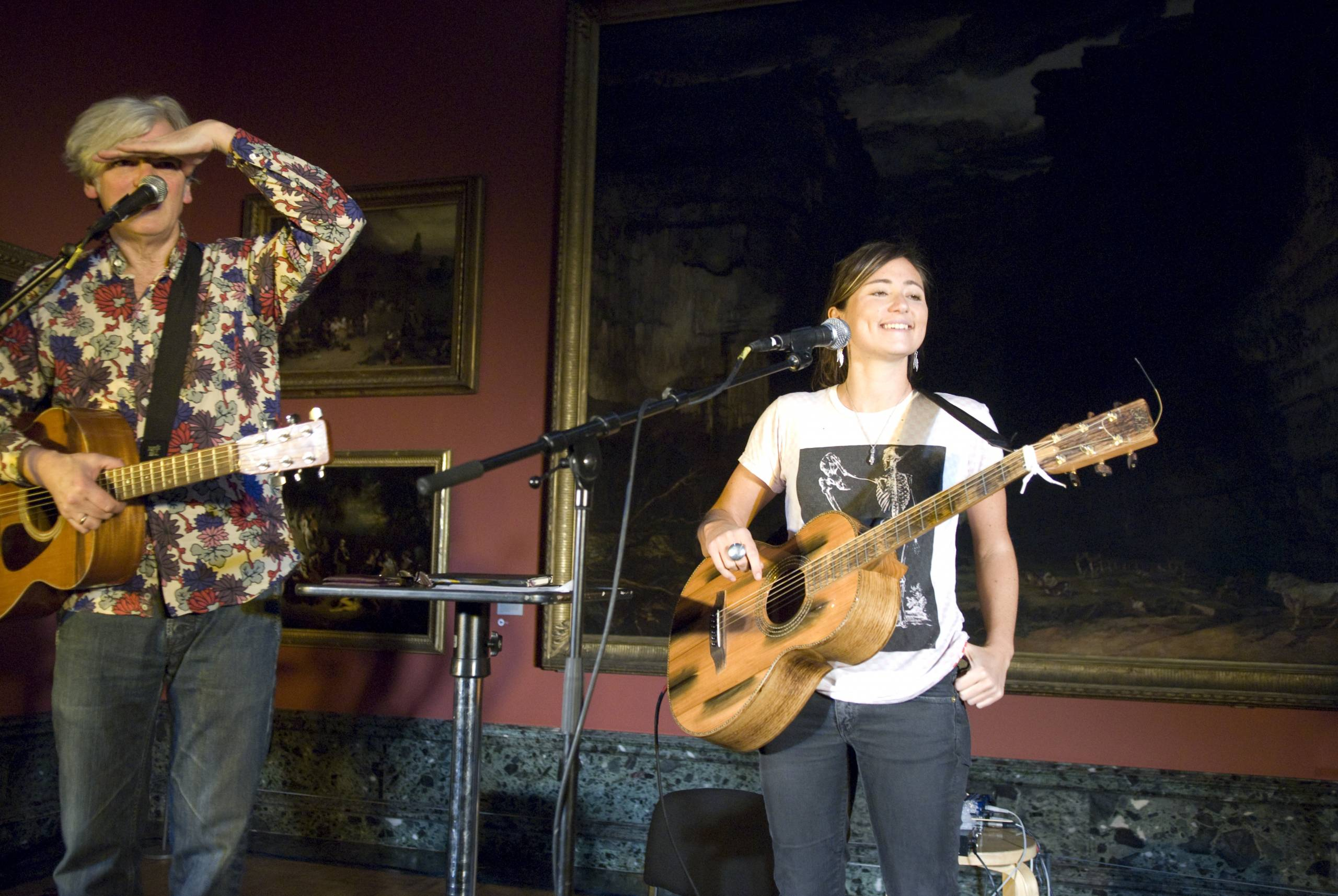 musicians perform in a gallery setting